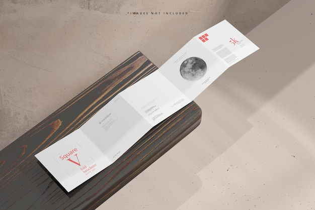 Square five fold brochure mockup