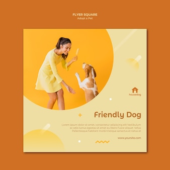 Square flyer adopt a dog template