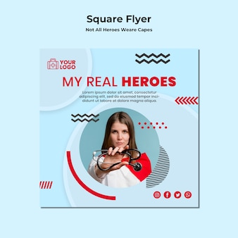 Square flyer not all heroes wear capes template
