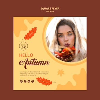 Square flyer autumn ad template