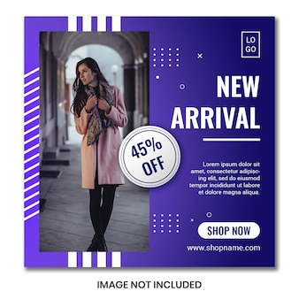 Square flyer or banner template for fashion shopping stores