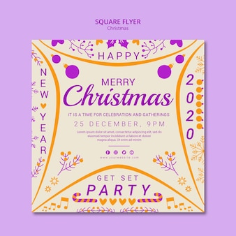 Square flyer christmas template
