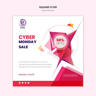 Square flyer cyber monday template