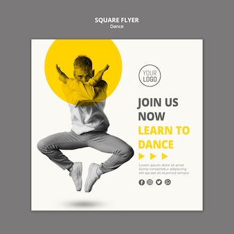 Square flyer for dance lessons Free Psd