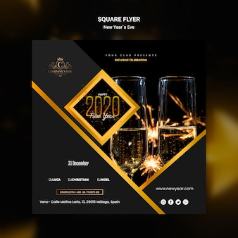 Square flyer design for new year eve template