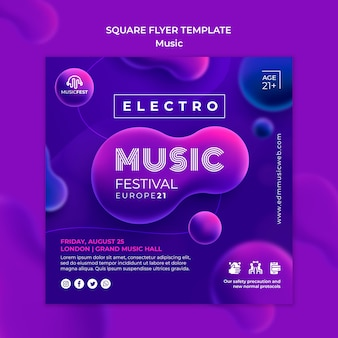 Square flyer for electro music festival with neon liquid effect shapes