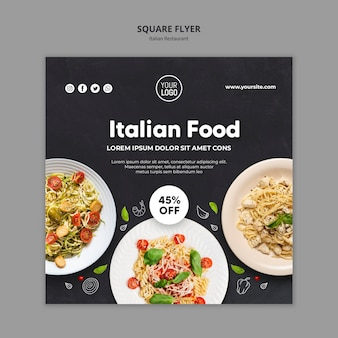 Square flyer italian restaurant template