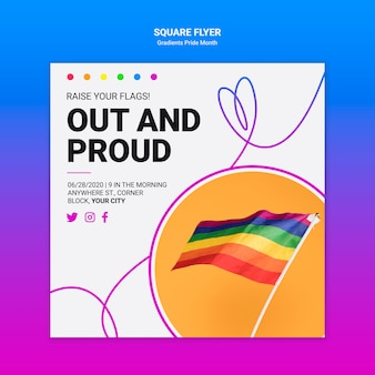 Square flyer for lgbt pride
