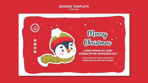 Square flyer merry christmas promo template
