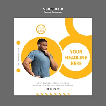 Square flyer minimalist business ad template