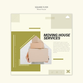 Square flyer for moving house services