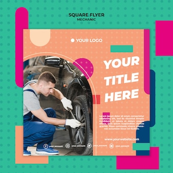 Square flyer for professional mechanic