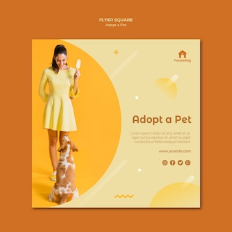Square flyer template adopt a dog