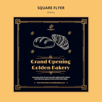 Square flyer template for bakery shop with hand drawn blackboard