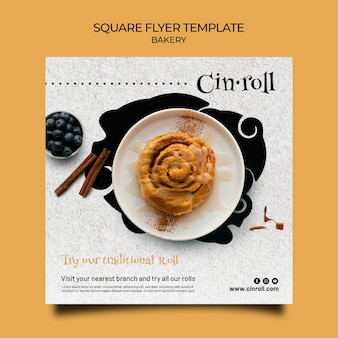 Square flyer template for bakery shop