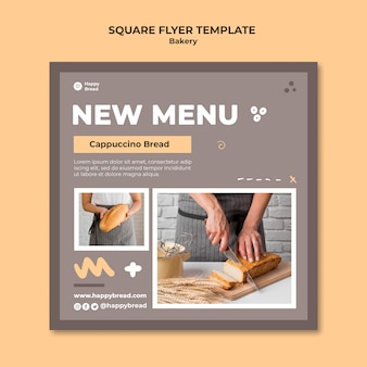 Square flyer template for bread shop