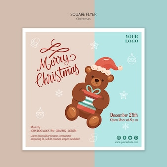 Square flyer template for christmas with bear