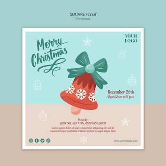 Square flyer template for christmas with bell