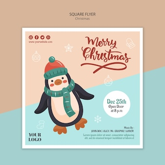 Square flyer template for christmas with penguin