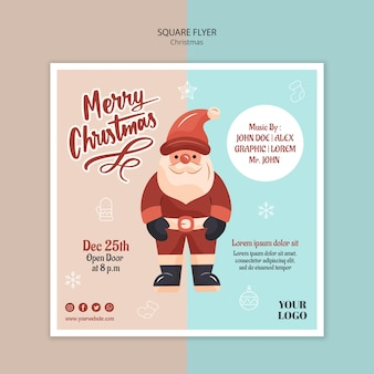 Square flyer template for christmas with santa claus