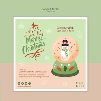 Square flyer template for christmas with snow globe