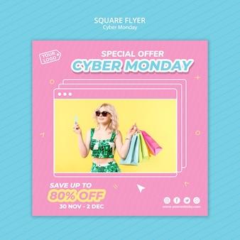 Modello di volantino quadrato per lo shopping del cyber lunedì