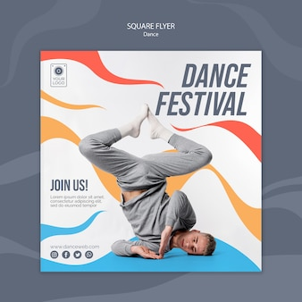 Square flyer template for dance festival with performer