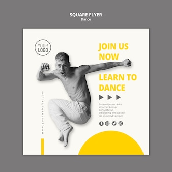 Square flyer template for dance lessons