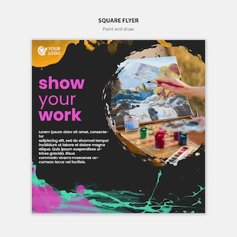 Square flyer template for drawing and painting artists