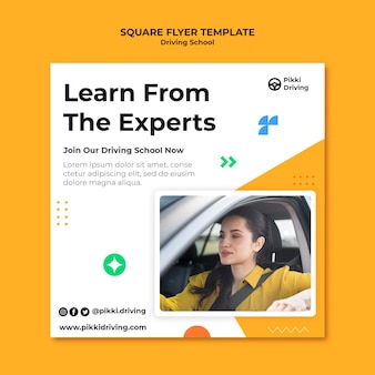 Square flyer template for driving school with woman and car