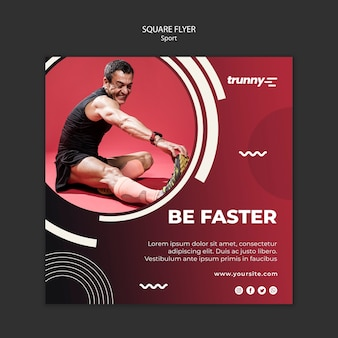 Square flyer template for fitness