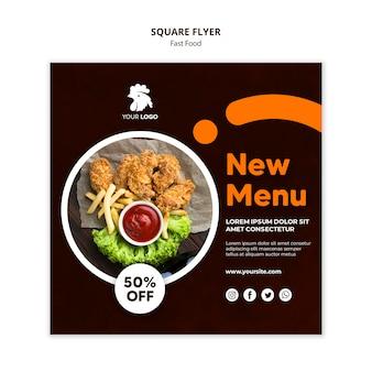 프라이드 치킨 레스토랑에 대한 정사각형 전단지 템플릿