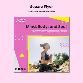 Квадратный шаблон флаера для медитации и осознанности