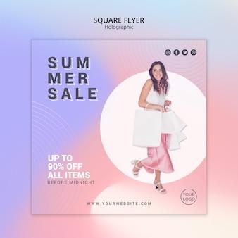 여름 판매를위한 정사각형 전단지 서식 파일