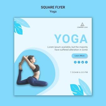 Квадратный шаблон флаера для упражнения йоги