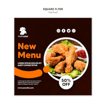 Square flyer template for fried chicken restaurant