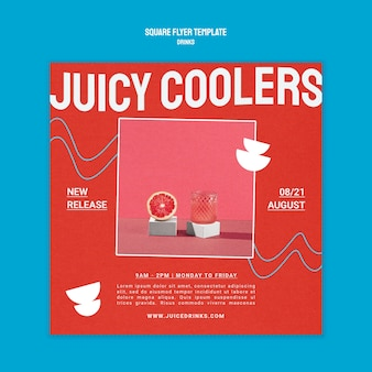 Square flyer template for healthy fruit juice