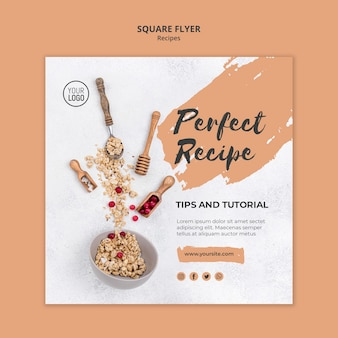 Square flyer template healthy recipes