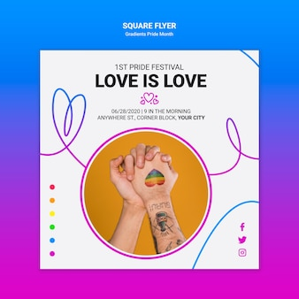 Square flyer template for lgbt pride