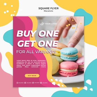 Square flyer template macarons confectionery