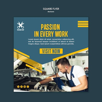 Square flyer template for mechanic profession