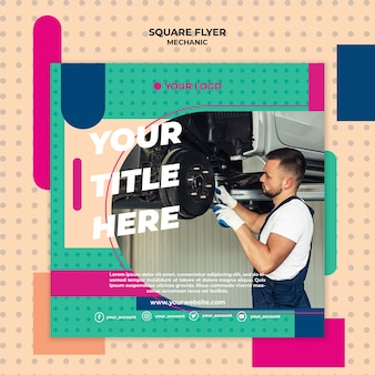 Square flyer template for mechanic