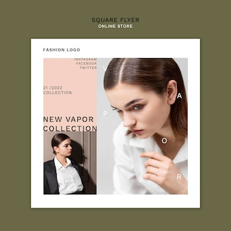 Square flyer template for minimalistic online fashion store