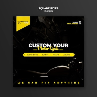 Square flyer template for motorcycle repair shop