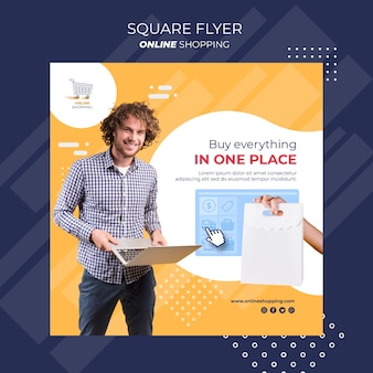 Square flyer template for online shopping