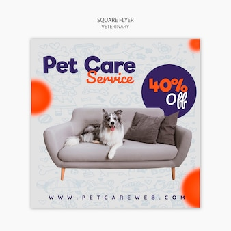 Square flyer templatefor pet care with dog on the couch
