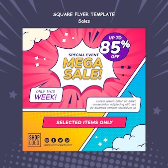 Square flyer template for sales in comic style