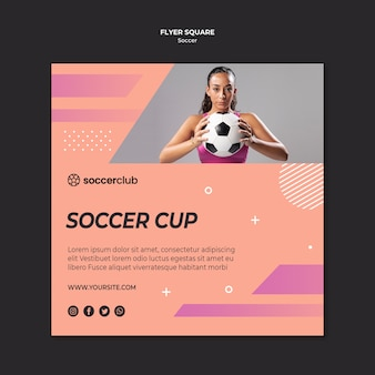 Square flyer template for soccer player