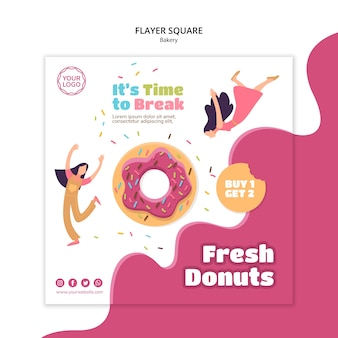 Square flyer template for sweet baked donuts