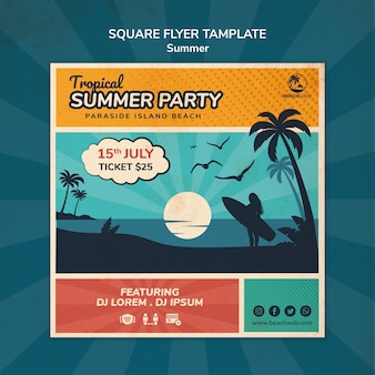 Square flyer template for tropical beach party